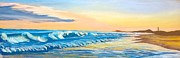 North Shore Pastels Posters - Early Evening on Carolina Coast Poster by Frank Giordano