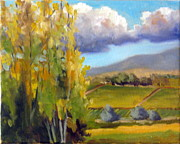 Autumn Vineyards Paintings - Early Fall Poplars by Char Wood