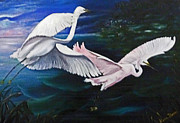 Snowy Egrets Painting Posters - Early Flight Poster by Karin Best