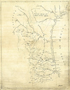 Drawn Prints - EARLY HAND-DRAWN SOUTHERN TEXAS MAP c. 1795 Print by Daniel Hagerman