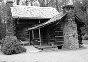 Smokey Mountains Digital Art Posters - Early Homestead -1 Poster by Janice Sakry