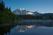 Mount Rainier Prints - Early Morning at Mount Rainier Print by Mike Reid