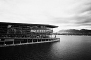 Burrard Inlet Prints - early morning at the Vancouver convention centre west building on burrard inlet BC Canada Print by Joe Fox