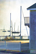 Yellow Green Blue Prints - Early Morning Camden Harbor Maine Print by Carol Leigh