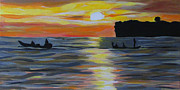 Mediative Paintings - Early Morning Fishing by Fatima Neumann
