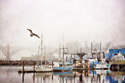 Monochromatic  Prints - Early Morning Newport Oregon Print by Carol Leigh