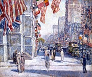 Frederick Digital Art Prints - Early Morning On The Avenue Print by Frederick Childe Hassam