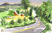 Knob Painting Prints - Early Morning Out Route JJ Print by Kip DeVore