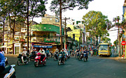 Suckling Pig Digital Art Prints - Early Morning Saigon Traffic-Vietnam Print by Ruth Hager
