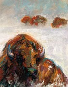 American Bison Pastels Prints - Early Morning Snow Print by Frances Marino