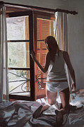 Figure Drawing Prints - Early Morning Villa Mallorca Print by Gillian Furlong