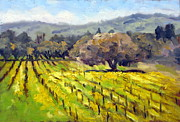 Early Mustard In The Vineyards Print by Char Wood