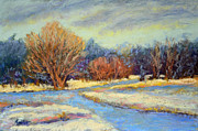 Snow-covered Landscape Pastels Prints - Early Snow Print by Arlene Baller