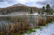 Abbott  Photos - Early snow at Abbot Lake in Va by Steve Hurt