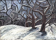 Maine Drawings Originals - Early Snow by Grace Keown