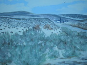 Overcast Day Paintings - Early Snow in Idaho by Suzanne McKay