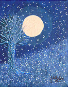 Snowy Night Painting Metal Prints - Early Snow Metal Print by Jim Whalen