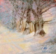 Winter-landscape Pastels - Early Snow by Mary Ellen Bitner