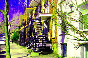 Verdun Montreal Winter Street Scenes Montreal Art Carole Spandau Paintings - Early Spring Stroll City Streets With Spiral Staircases Art Of Montreal Street Scenes Carole Spandau by Carole Spandau
