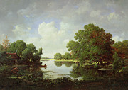 Reflecting Water Painting Metal Prints - Early Summer Afternoon Metal Print by Pierre Etienne Theodore Rousseau