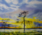 Sunrise Painting Originals - Early summer morning by Veikko Suikkanen