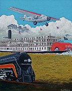 Ford Trimotor Posters - Early Transportation Poster by Frank Hunter