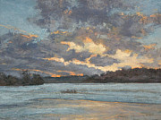 Winter Storm Painting Prints - Early Winter Evening Print by Gregory Arnett