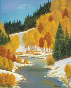 Bank; Clouds; Hills  Prints - Early Winter Logan River Print by Michael Shegrud