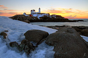 Early Winter Morning At Cape Neddick Lighthouse Print by Brett Pelletier
