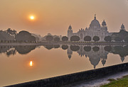 Reflection Pyrography Posters - EarlyMorning Victoria Memorial Poster by Debrup Chatterjee