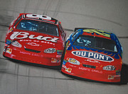 Sponsor Framed Prints - Earnhardt Junior and Jeff Gordon Trade Paint Framed Print by Paul Kuras