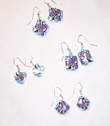 Black And White Jewelry - Earrings in Blue Hues by Judy Smalls