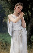 Three-quarter Length Painting Posters - Earrings Poster by William Adolphe Bouguereau