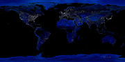 Earth Map  Digital Art Prints - Earth At Night Print by Bob Orsillo