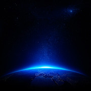 Earth At Night With City Lights Print by Johan Swanepoel