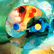 Sharon Cummings Mixed Media - Earth Balance - Yin and Yang Art by Sharon Cummings