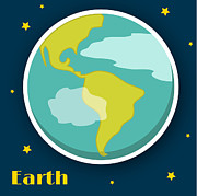 Solar System Posters - Earth Poster by Christy Beckwith