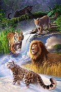 Big Cats Prints - Earth Day 2013 poster Print by Jerry LoFaro