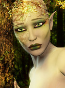 Tree Roots Digital Art Posters - Earth Day Sad Elf Poster by Elle Arden Walby