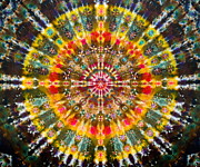 Tie Dye Tapestries - Textiles Metal Prints - Earth Elements Mandala Metal Print by Courtenay Pollock