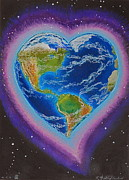 Constellations Mixed Media Prints - Earth Equals Heart Print by R Neville Johnston