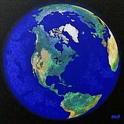 Earth Map Paintings - Earth from space America by Dragica  Micki Fortuna