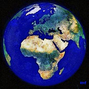 Earth Map Paintings - Earth from space Europe and Africa by Dragica  Micki Fortuna