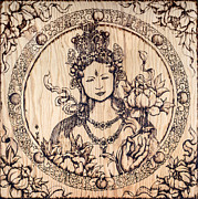 Asian Pyrography Framed Prints - Earth Goddess Framed Print by Nozomi Takeyabu