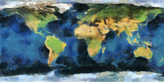 Abstract Map Painting Posters - Earth-map abstract Poster by Georgi Dimitrov