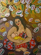 Breastfeeding Paintings - Earth Mother by Jennifer Mourin