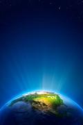 Earth Radiant Light Series - North America Print by Johan Swanepoel