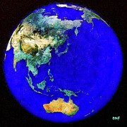 Earth Map Paintings - Earth seen from space Australia and Azia by Dragica  Micki Fortuna