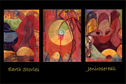 Rosyhall Prints - Earth Stories triptych Print by Rosy Hall