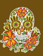 Earth Tone Posters - Earth Tone Sugar Skull Poster by Jenny Hall